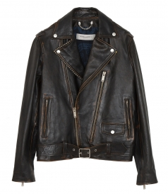 GOLDEN GOOSE  - RYAN BIKER JACKET WITH DECORATIVE STUDS