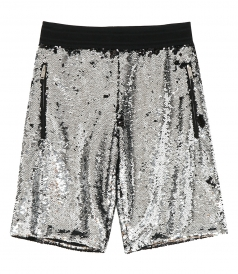 GOLDEN GOOSE  - CAMERON SHORTS WITH SILVER AND BLACK SEQUINS