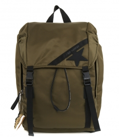 GOLDEN GOOSE  - OLIVE-GREEN NYLON JOURNEY BACKPACK