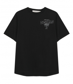 GOLDEN GOOSE  - BLACK GOLDEN T-SHIRT WITH TEXAS PRINT