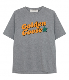 GOLDEN GOOSE  - MELANGE GREY GOLDEN T-SHIRT WITH VINTAGE PRINT