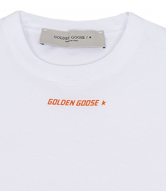 WHITE T-SHIRT WITH ORANGE FLAG PRINT ON THE BACK