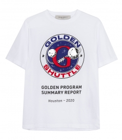 GOLDEN GOOSE  - WHITE GOLDEN T-SHIRT WITH GOLDEN SHUTTLE PRINT