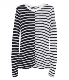 T BY ALEXANDER WANG - NEW RAYON STRIPE SLUB TEE