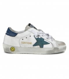GOLDEN GOOSE  - TEAL SUEDE SUPERSTAR SNEAKERS