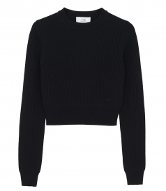 KNITWEAR - CROPPED LONG-SLEEVE MIDNIGHT BLUE JUMPER