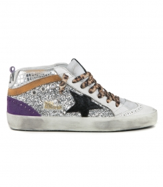 SILVER GLITTER MID STAR SNEAKERS