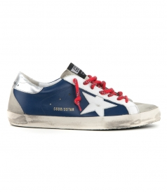 GOLDEN GOOSE  - BLUE LEATHER SUPERSTAR SNEAKERS