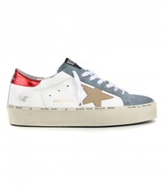 WHITE LEATHER HI STAR SNEAKERS