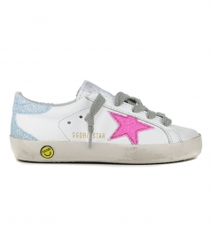 PINK GLITTER STAR SUPERSTAR SNEAKERS