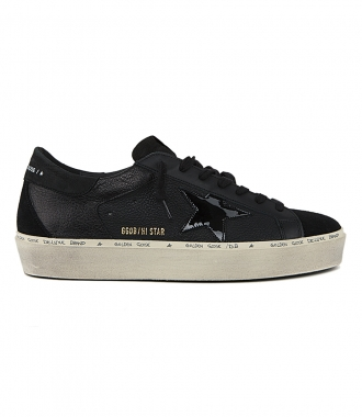 GOLDEN GOOSE  - BLACK NABUK HI-STAR SNEAKERS
