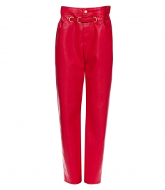 PAPERBAG-WAIST FAUX-LEATHER TROUSERS