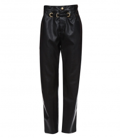 JUST IN - PAPERBAG-WAIST FAUX-LEATHER TROUSERS