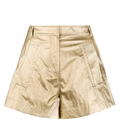 SHORTS - LAMINATED HIGH-WAISTED SHORTS