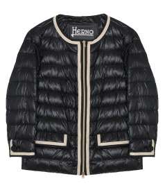 CLOTHES - CONTRAST-TRIM COLLARLESS DOWN JACKET