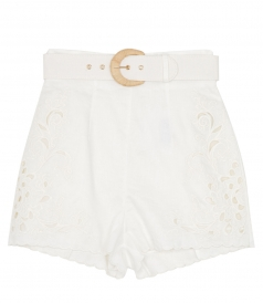 SHORTS - PEGGY EMBROIDERED HIGH WAIST SHORT