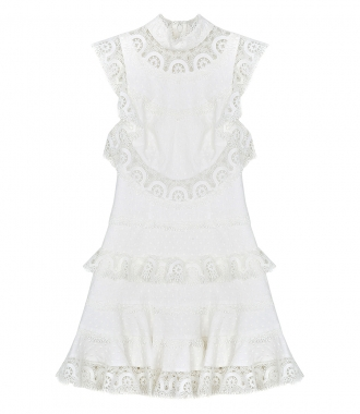ZIMMERMANN - PEGGY EMBROIDERED SHORT DRESS