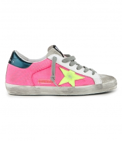 GOLDEN GOOSE  - FUXIA MESH SUPERSTAR SNEAKERS