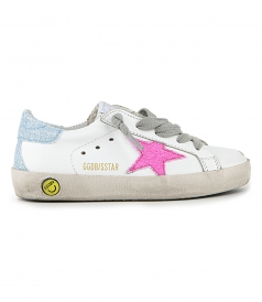 GOLDEN GOOSE  - PINK GLITTER SUPERSTAR SNEAKERS