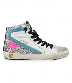 SHOES - SILVER GLITTER SLIDE SNEAKERS