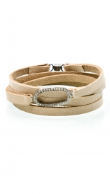 LEATHER  & PAVE DIAMOND OVAL WRAP