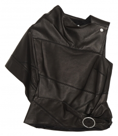 TOPS - LEATHER GATHERED TOP