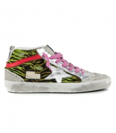 GOLDEN GOOSE  - BLACK LIME ZEBRA MID STAR SNEAKERS