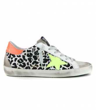 GOLDEN GOOSE  - LEOPARD CANVAS SUPERSTAR SNEAKERS