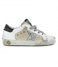 GOLDEN GOOSE  - BEIGE CANVAS SUPERSTAR SNEAKERS