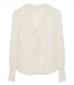 SEE BY CHLOE - RUFFLED V-NECK BLOUSE