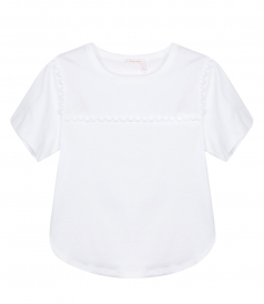 SEE BY CHLOE - CROPPED SCALLOPED TRIM T-SHIRT