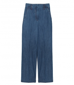 JUST IN - CHAMBRAY-EFFECT DENIM FLARED PANTS