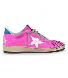 GOLDEN GOOSE  - FUCSIA FLUO BALL STAR SNEAKERS