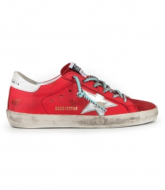 GOLDEN GOOSE  - CHERRY LEATHER SUPERSTAR SNEAKERS