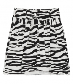 ZEBRA-PRINT DENIM MINI SKIRT