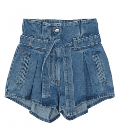 SHORTS - STONE WASHED HIGH-RISE SHORTS