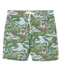 CLOTHES - KIDS HAWAIIAN DREAM PRINT ACHILLE SWIM SHORTS