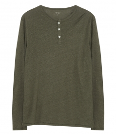 CLOTHES - LINEN HENLEY T-SHIRT