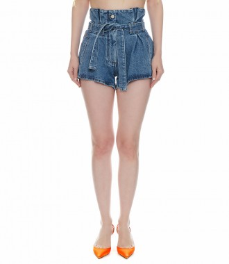 STONE WASHED HIGH-RISE SHORTS