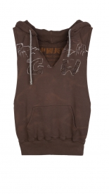 SWEATERS - HOOD VEST WILD WEST LEATHER
