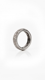 RINGS - OXIDIZED STERLING SILVER AND PAVE DIAMOND BAND RING