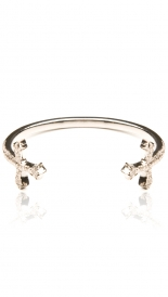 ACCESSORIES - OXIDIZED STERLING SILVER & PAVE DIAMOND DOUBLE CROSS CUFF BRACEL