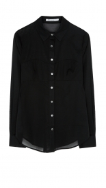 T BY ALEXANDER WANG - COTTON VOILE LONG SLEEVESHIRT W/ BRA SEAMING