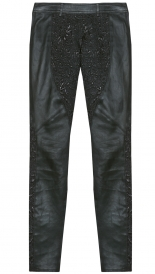 MIX LEATHER BORCADE PANTS
