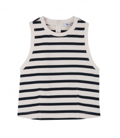 CLOTHES - STIFF COTTON JERSEY FITTED CROP TANK TOP