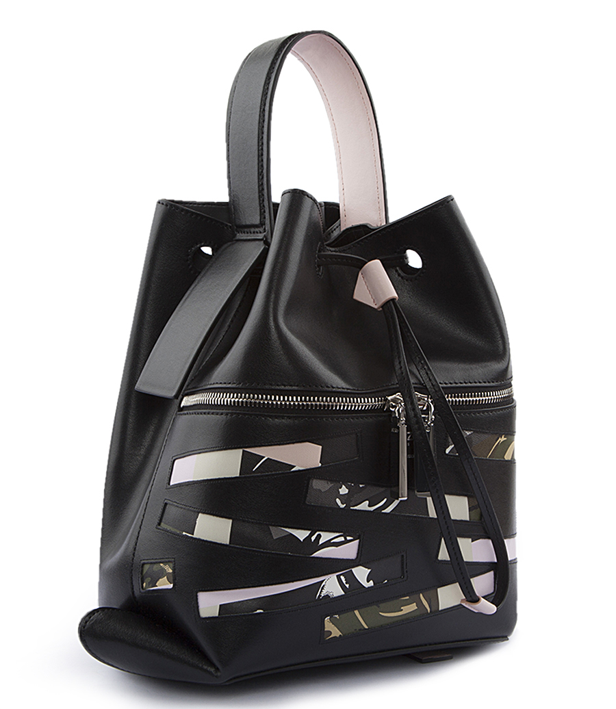 BAG HAS BACK LEATHER BACKPACK WITH CAMOUFLAGE DETAILING ...