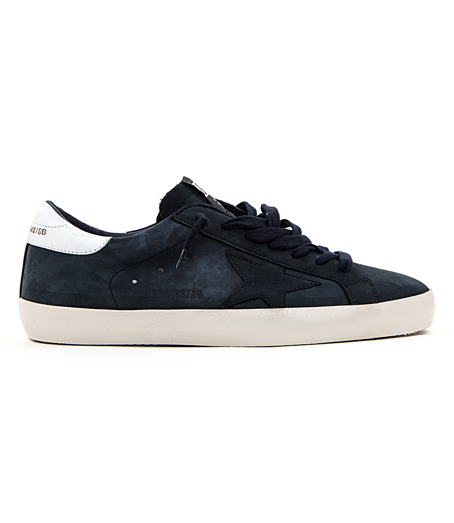 7f3fa7b94cdd7 GOLDEN GOOSE DELUXE BRAND - SUPERSTAR SNEAKERS IN DARK BLUE SUEDE