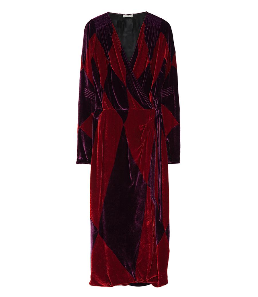 Velvet Robe Dress With Geometric Rhombus Patchwork Night