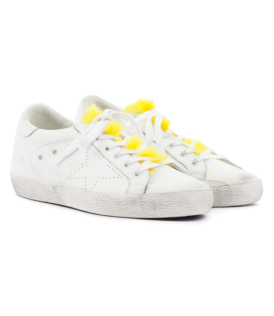 7c87f16a3a50 GOLDEN GOOSE DELUXE BRAND - SUPER STAR SNEAKERS FT YELLOW MINK FUR TONGUE