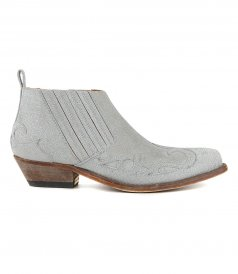 GOLDEN GOOSE  - SILVER SANTIAGO LOW ANKLE BOOTS WITH GLITTER